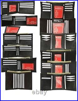 Marshal Mens Black Leather Bifold / Trifold Wallet Wholesale Lot 48 Wallets