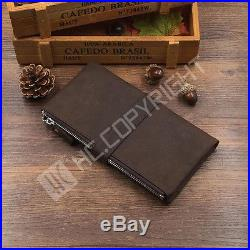 Men Soft Cowhide Bull Genuine Leather Notebook Disign Large Capacity Long Wallet