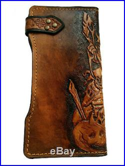 Men's 3D Genuine Leather Wallet, Long wallet, Hand-Carved, Hand-Painted, Viking