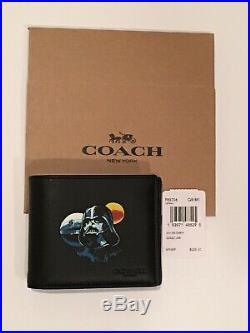 Mens Coach X Star Wars Darth Vader 3-In-1 Leather Wallet F85706 NEW + COACH BOX