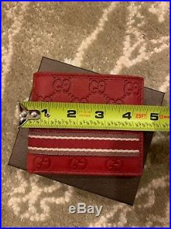 Mens Gucci Leather Rock Lux Micro GG Wallet Red Valentines Day
