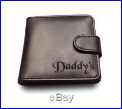 Mens Personalised Engraved Black Leather Wallet Credit Card Holder Birthday Gift