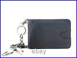 Mens genuine Leather Chained Wallet Quality RFID Blocking Credit Card Holder