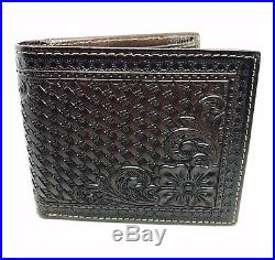 Montana West Men's Brown Genuine Tooled Leather Bifold Wallet Western