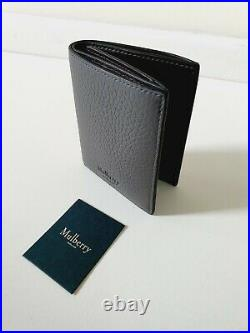 Mulberry Heavy Grain Leather Mens Trifold Charcoal Grey Wallet RRP£205