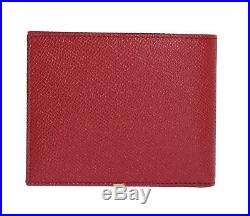 NEW $300 DOLCE & GABBANA Wallet Red Dauphine Leather Bifold Logo Card Holder