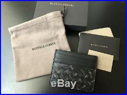 NEW Authentic Bottega Veneta Intrecciato Leather Card Case Holder Wallet Black