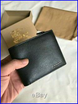 NEW Authentic Burberry Black Leather International Bifold ID Coin Wallet