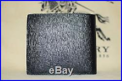 NEW Authentic Burberry Black London Leather Folding Men Bifold Coin Wallet