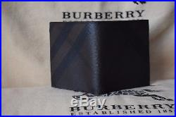 NEW Authentic Burberry London Check Chocolate/Black ID Leather Men wallet