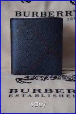 NEW Authentic Burberry London Check Navy/Black ID Leather Men wallet