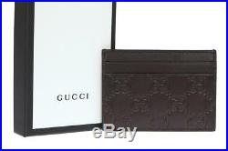 NEW GUCCI BROWN LEATHER GUCCISSIMA CREDIT CARD HOLDER CASE WithBOX