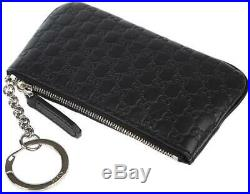 NEW GUCCI MICROGUCCISSIMA BLACK LEATHER SMALL ZIP WALLET WithKEY RING AUTHENTIC
