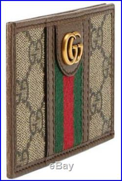 NEW GUCCI OPHIDIA GG CANVAS LEATHER DOUBLE G WEB DETAIL CARD CASE WALLET WithBOX