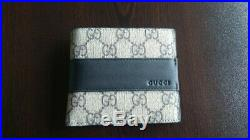 NEW Gucci Men Wallet GG Logo Canvas and Leather Made in Italy Purse Auth