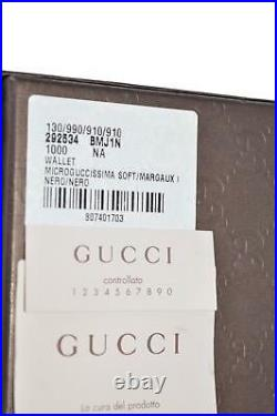 NEW Gucci Men's 292534 Black Leather Micro Guccissima WithCoin Large Bifold Wallet