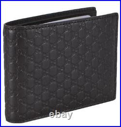 NEW Gucci Men's 333042 Brown Leather Micro GG Bifold Wallet WithRemovable ID