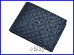 NEW Gucci Men's 367287 Blue Micro GG Leather Bifold Wallet Coin pocket ID window