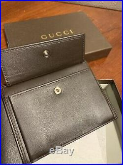 NEW Gucci Mens Brown Leather Microguccissima Wallet