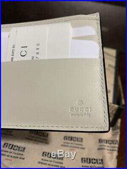 NEW Gucci Wallet Guccy Sega Font White Leather