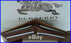 NEW IN BOX 100% AUTH BURBERRY Men's Tan Leather Horseferry Check Bifold Wallet