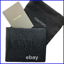 NEW Tom Ford Gray Exotic Skin Bifold Mens Wallet