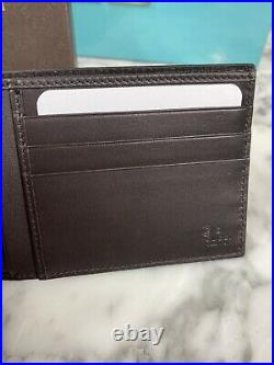 NIB Authentic GUCCI Guccisimma Men's BiFold Wallet DK Brown Embossed GG Leather