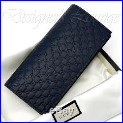 NIB GUCCI Men's Micro GG Guccissima Navy Blue Leather Bi-Fold ID Vertical Wallet
