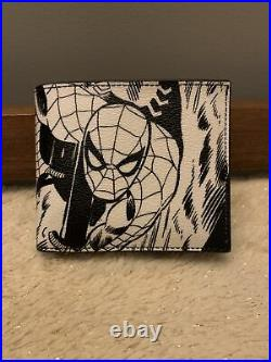 NWT $198 COACH 1837 Marvel 3-In-1 Men's Wallet Leather With Comic Print Black