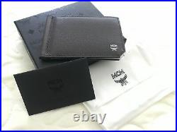 NWT AUTHENTIC MCM Men's Money Clip Card Case Wallet, Dark Brown withBlack Leather