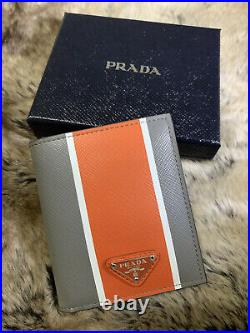 NWT AUTHENTIC Prada Mens Bifold Compact Wallet In Grey & Orange Saffiano Leather