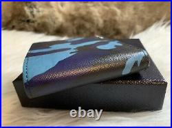 NWT AUTHENTIC Prada Mens Bifold Wallet In Blue Saffiano Leather Camouflage Promt