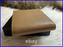 NWT AUTHENTIC Prada Mens Bifold Wallet In Saddle Brown Saffiano Leather