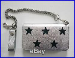 NWT Auth SAINT LAURENT RIDER Silver Leather STAR Patch Pocket Chain Wallet