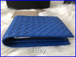 NWT Authentic Bottega Veneta BV MEN'S BiFold Wallet In Electric Blue With Coin