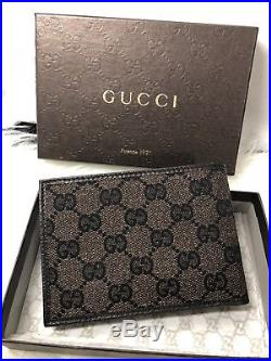 NWT Authentic GUCCI GG Men's Bi Fold Wallet Brown Canvas Leather With Coin Pkt