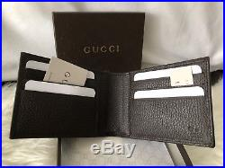 NWT Authentic GUCCI Men's BiFold Wallet In Dark Brown Pebbled Leather