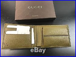 NWT Authentic GUCCI Men's Bifold Wallet in Olive Green Leather With Receipt