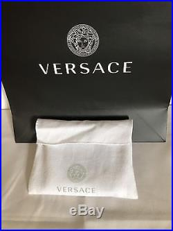 NWT Authentic VERSACE Black Leather MEDUSA and Gold Studs Mens Wallet