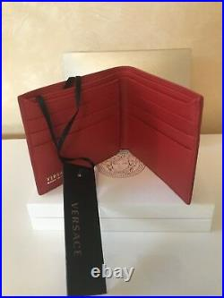 NWT Authentic VERSACE Red Leather MEDUSA Mens Wallet