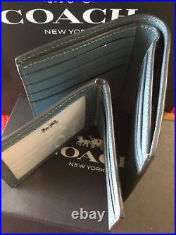 NWT Coach Mens 3 In 1 Wallet STYLE 24425 CHAMBRAY CROSS GRAIN ORIG $175