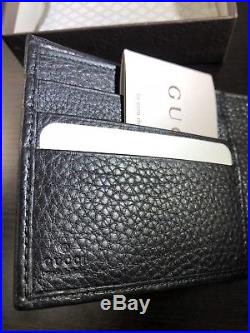 NWT GUCCI Interlocking GG Mens Bi Fold Wallet With Coin Pocket In Black Leather