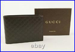 NWT Gucci Authentic Mens Navy Micro Guccissima Bi fold Wallet with Box