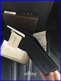 NWT Gucci Men's Black Microguccissima GG Logo Leather Bifold Wallet