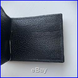 NWT Men's Gucci Black Bifold Wallet Authentic Leather GG Money Clip