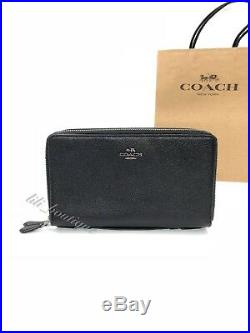 NWT New Coach F23334 Unisex Double Zip Travel Organizer Wallet Leather Black 295