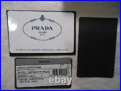 NWT Prada $260 Men's Saffiano Leather Card Case with Savoia Logo (withBox), Gray