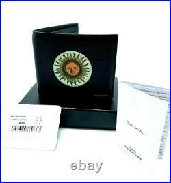 New! $225 Paul Smith Psychedelic Sun Hologram Black Mens Wallet