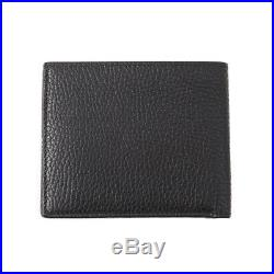 New $390 TOM FORD Black Grained Leather Classic Bifold Wallet with Silver Logo