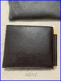 New $550 TOM FORD Men Hammered Leather Wallet WithMoney Clip DK Brown Italy